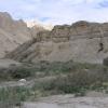现在的沙岩让下雨的水很快地流下去,所以只是在最下面的地方有一些绿色的植物